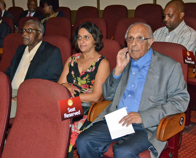 Seated (l-r) Ambassador Billy Modise, Former Chief of State Protocol, Razia Saleh, Nelson Mandela Foundation and Ahmed Kathrada