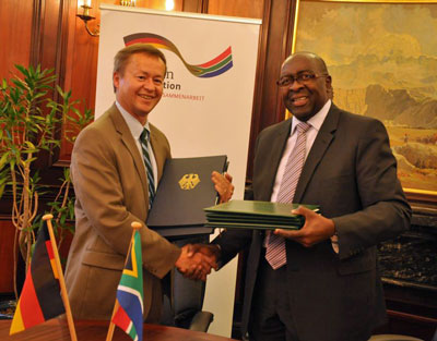 German Ambassador to South Dr. Horst Freitag and South African Minister of Finance, Mr. Nhlanhla Nene