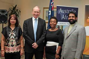 Mrs Sooklal, Australian High Commissioner, HE Mr Graeme Wilson, South Africa's Minister of Mineral Resources, the Hon Susan Shabangu and Ambassador Anil Sooklal, Deputy Director General, DIRCO