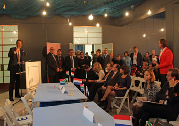 Ambassador Andre Haspels of the Netherlands at the signing ceremony