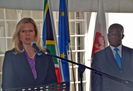 H.E. Ms Anna Raduchowska-Brochwicz, Ambassador of Poland in South Africa, is pictured addressing guests at the celebration of Poland's Constitution Day. Pictured with her is Ambassador Genge, Acting Chief Director for Central and Eastern Europe at DIRCO, South Africa.