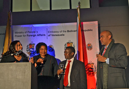 Pictured at the celebration of the 204th National Day of the Bolivarian Republic of Venezuela are (l-r) Mrs Mairin Moreno Mérida, Ambassador of Venezuela, Mrs. Candith Mashego-Dlamini, Deputy Minister of Rural Development of SA, Mr. Godfrey Oliphant, Deputy Minister of Mineral Resources of SA and Mr Rafael López